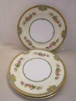 "3 Meito China (F & B Japan) Madrid - Salad/Dessert Plates Flowers & Gold. 7-3/4"""