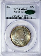 1892 50C Columbian PCGS MS66 CAC Color-Toned Silver Commemorative Half Dollar!