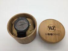 Men's 2018 Handcrafted Ebony Wood Watch, Japanese Quartz, Ebony Wood Link Strap