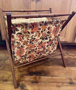 Vintage Stand Up Wooden Folding Sewing Knitting Basket Oranges Fabric Bag large