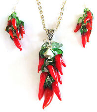 necklace and earring set of firey red lampwork peppers, 18 inch chain, red hot