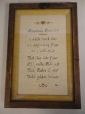 """Hand Made Mountain Biscuits Recipe Cross Stitch Shadow Framed Sampler (10""""X 14"""")"""