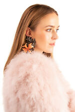 RRP €300 DSQUARED2 Flower Dangle Earrings Crystal Embellished Made in Italy