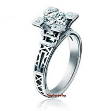 18k White Gold Plated Eiffel Tower Engagement Women's Ring Size 10 R17