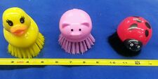 3 pack Red Lady Bug, Yellow Ducky, & Pink Pig Scrub Brushes