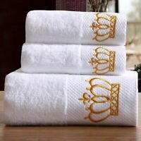 White Towels Set Embroidered Crown Cotton Rectangle Face Bath Twill Swab 2pcs