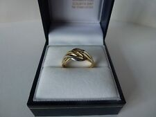 NEW, 9carat 9ct Yellow & White Gold Twist Ring, size L 1/2