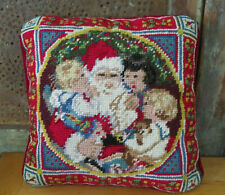 """Needlepoint Christmas Santa Claus & Children Vintage Square Finished Pillow 10"""""""