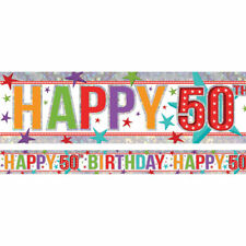 Holographic Happy 50th Birthday Multi Coloured Foil Banner - 2.7m   BANN689