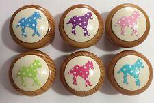 Handpainted Pastel & Cream Polka Dot Horse Pony 38mm Pine Drawer Knobs x 6