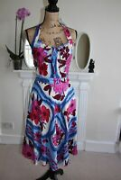Moschino 12 Floral Silk Floral Print Dress Midi Blue Pink Halterneck Tea Medium