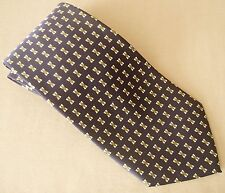 LONGGE Necktie Tie Navy Blue Red/White Geometric Pattern Diamond Handmade Glossy
