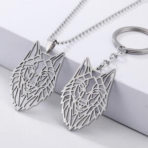 Mode aushöhlen Wolf Kopf Anhänger Choker Halskette Schlüsselbund Schmuck Gesc KP