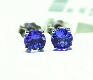 1.01CT 14K Gold Natural Round Cut Tanzanite Stud Engagement Earrings Vintage