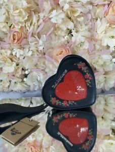Dr Martens Heart Leather Purse Sequin Rose Floral Wrist Strap Bag NEW RARE