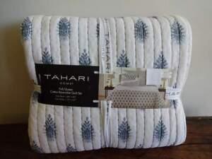 TAHARI HOME Grayish BLUE White PAISLEY Pick Stitch Full QUEEN QUILT Sham SET 3PC