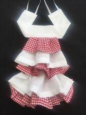 Red/White Gingham Cravat Fancy Dress Neck Ruffle