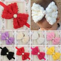 Baby Girls Large Bow Headband Toddlers Kids Lace Flower Knot Hair Band Head Wrap