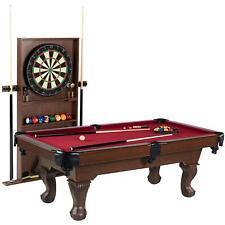 "Barrington 90"" Ball and Claw Leg Pool Table, Cue Rack, Dartboard, Burgundy NEW"