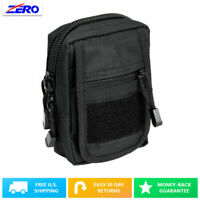 Black Small Utility Pouch Heavy Duty PVC MOLLE PALS Tactical Gear Zippered Gear