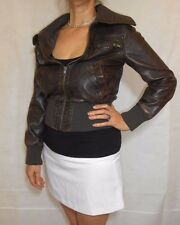 Women Brown Jacket Faux Leather Zipped Rob Neck Miso Size 8