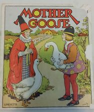 MOTHER GOOSE 1930's Children's Linenette Softcover Book Color Plates
