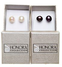 HONORA COLLECTION FRESHWATER PEARL POST EARRINGS SET of 2 ~ NIB white / plum