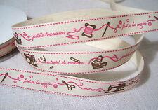 RUBAN TOILE IMPRIMÉE 100% COTON *16 mm* Petits travaux fait main couture ciseaux