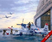 USAF MECHANICS WORKING ON P-51 MUSTANG PAINTING US HISTORY ART REAL CANVAS PRINT