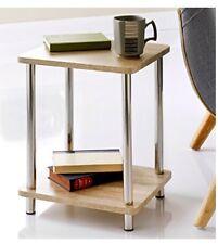 Stylish Oak Effect Svar 2 Tier Shelf Unit Oak Shelves, Stainless Steel Legs