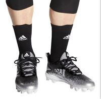 Adidas Youth Adizero Afterburner Black Silver Sport Baseball Cleats US Size 2.5