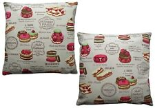 Pack of 2 Cake Dessert Printed Cushion Covers Beige/ Cream/ Black