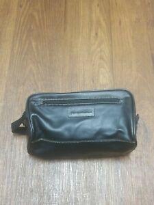 Perry Ellis Portfolio Men's Travel Pouch Toiletries Bag Faux Leather Black