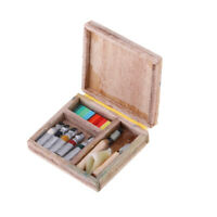 Wooden Painting Box Watercolor Case Drawing Tools 1:12 Dollhouse Miniatures