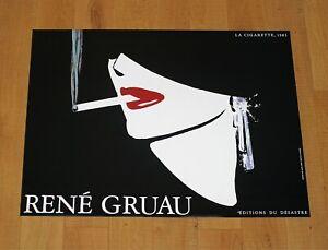 RENé GRUAU CIGARETTE poster manifesto affiche Black Fashion Red Lips Jewels A16