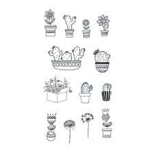 Waterproof Temporary Fake Tattoo Stickers Cute Grey Cactus Dandelion Flowers