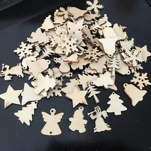 Neu 50er/Set Holz Anhänger Weihnachtsbaum Christbaum Schmuck Dekoration Weihnach
