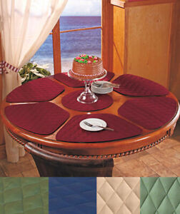 7 pc Round Table Wedge Shaped Placemat Set IN HAND 6 Quilted Ctr Trivet Kitchen