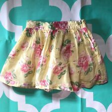 Janie and Jack Girls Skirt Size 3T Floral Pastel Yellow Pink Cotton