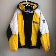VTG Pittsburgh Steelers Starter Puffer Jacket Sz Large Full Zip Double Sided 90s