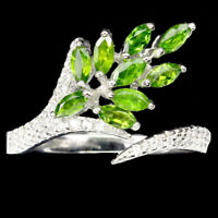 Unheated Marquise Green Chrome Diopside 4x2mm Cz 925 Sterling Silver Ring Size 8