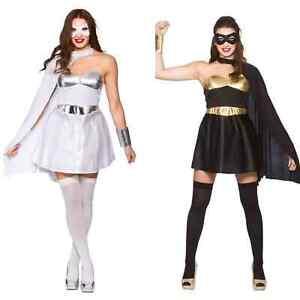 *CLEARANCE* Super Hero White or Black Dress Womens Fancy Dress Costume