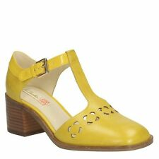 SIZE 7 US 9 ORLA KIELY  YELLOW LEATHER BIBI MID HEEL WOMENS SHOES  GIFT