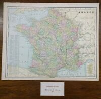 "Vintage 1902 FRANCE Atlas Map 14""x11"" Old Antique Original MONACO CORSICA NEVERS"