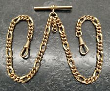 Double Albert Pocket Watch Chain. Antique Rolled Gold Figaro Link