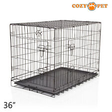 Dog Cage 36 inch Puppy Crate L Cozy Pet Black Dog Crates Folding Metal Cages