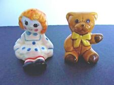 Avon Weiss Salt & Pepper Shaker Set~Rag Doll & Teddy Bear~Brazil