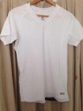 Blitz White V Neck Shirt Sleeved Spandex Nylon  compression top skin tight XL