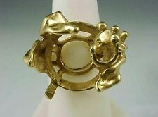 Vintage Hand Wrought 14K Yellow Gold Large Chunky Ring Mounting 10.9 Grams sz 7