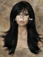 HEAT SAFE HUMAN HAIR Blend wig Long Straight OFf Black WBMS 1B